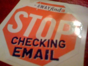 A promotional sign for AwayFind, from http://www.flickr.com/photos/somewhatfrank/2674942801/
