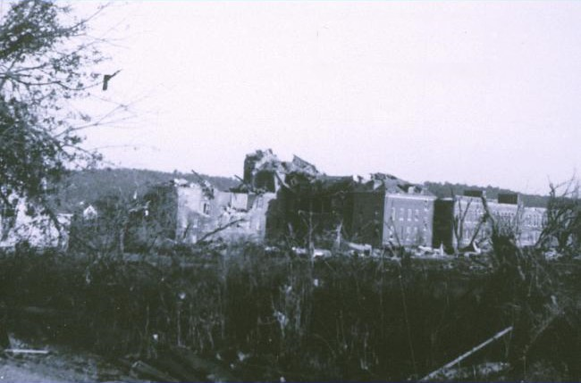1953 Worcester tornado. Assumtion College damage. via Wikipedia