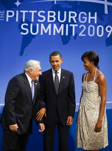 Michelle and Barack Obama meet Dominique Strauss Kahn at G-20 Summit in Pittsburgh, PA