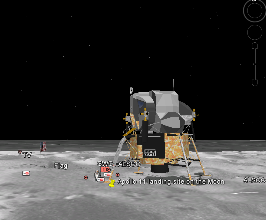 Apollo 11 landing site in Google Moon