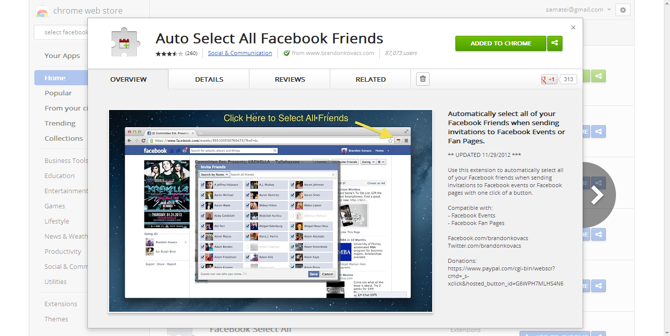 Chrome Web Store - Auto Select All Facebook Friends