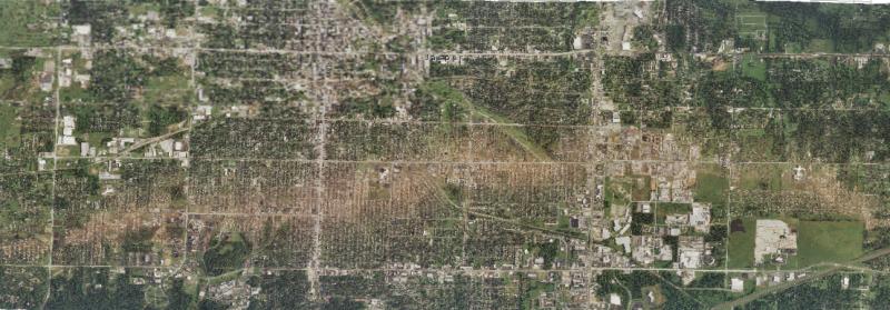 Joplin tornado path aerial picture