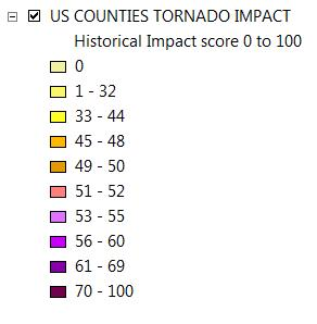 legend tornado impact map