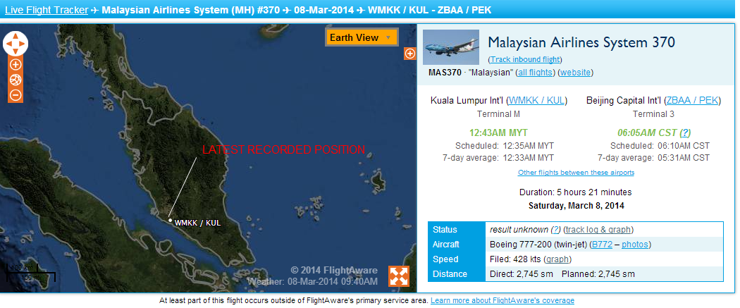 MH370 Flight Path - March 8, 2014