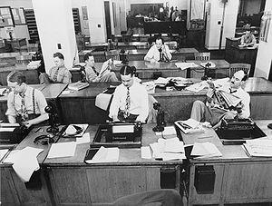 New York, New York. Newsroom of the New York T...