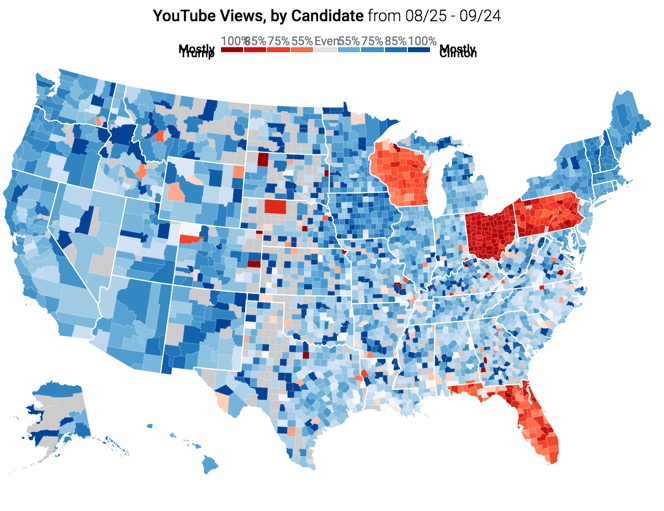 YouTube views for September 2016 of Clinton (blue) vs. Trump (red) clips at county level